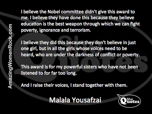 Malala on Nobel Prize