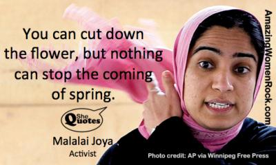 Malalai Joya you can cut down the flower