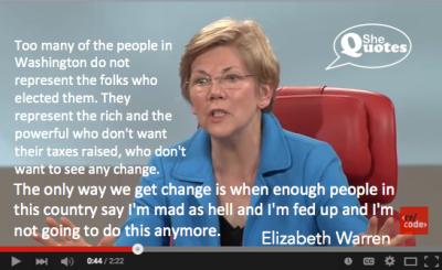 Elizabeth Warren is fed up