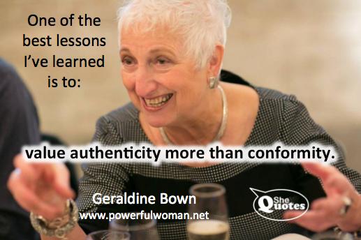 Geraldine Bown values authenticity