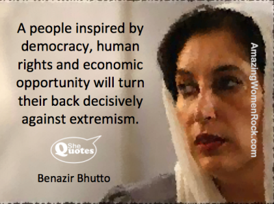Benazir Bhutto inspired by democracy