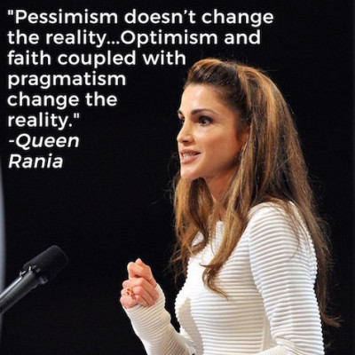 Queen Rania is optimistic