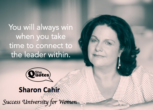 Sharon Cahir win within white type