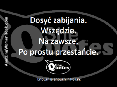 #SheQuotes Enough is enough in Polish